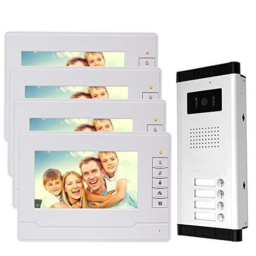 Immagine di NN99 Videocitofono campanello Kit sistema da 7 pollici con IR Telecamera di visione notturna 4 monitor per casa/appartamenti (1 telecamera + 4 schermi)