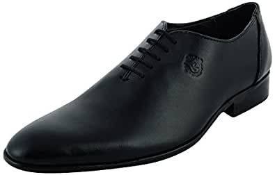 Royal's Rugged Black Genuine Leather Oxford Shoes,