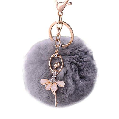 Hevoiok Strass Engel Diamant Schlüsselanhänger Beautiful Plüsch Rex Kaninchen Keychain Tasche Riemen Handtaschen Anhänger Mädchen Valentinstag Geschenk Dekor (G)
