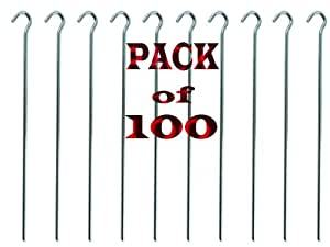 "BRAND NEW 100 HEAVY DUTY TENT PEGS - 4.5mm WIDE / 9"" LONG - MADE FROM GALVANISED STEEL - CURVED HOOK ON TOP - CAN REUSE AGAIN AND AGAIN"