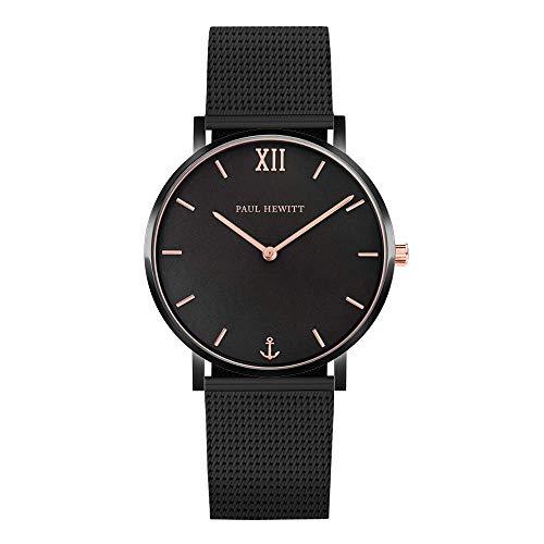 PAUL HEWITT Armbanduhr Damen Sailor Line Black Sunray - Damen Uhr (Schwarz und Rose), Damenuhr Edelstahlarmband (Schwarz), schwarzes Ziffernblatt