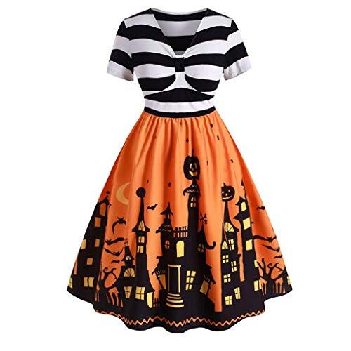 Kostüm Ninja Selbstgemacht - LOPILY Halloween Kostüm Damen 3D Druck Halloween Kleid Gestreiftes Abendkleid Elegant Halloween Kostüm Damen Sexy Gruseliger Kürbis Partykleid für Halloween Party (Gelb, 42)