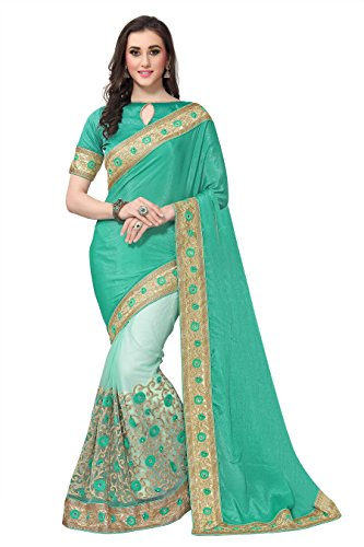 SareeShop Georgette Saree With Blouse Piece(Lakshmi-4006_Green Free Size)