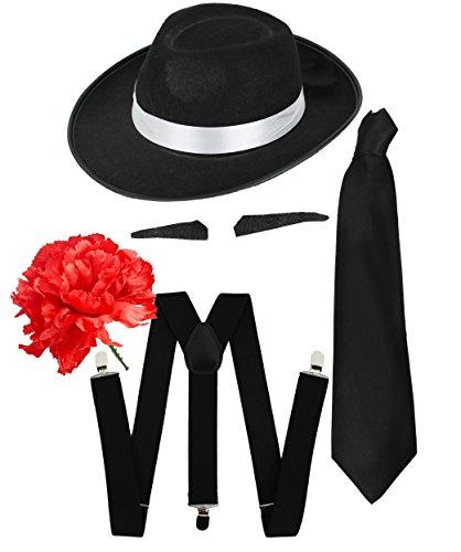 Gangster Kostüm der 1920er Reihe Zubehör Schwarz Hosenträger + Schwarz Tie +SCHNURRBART/Spiv Schnurr + schwarz mit weiß Schleife Fedora-Hut