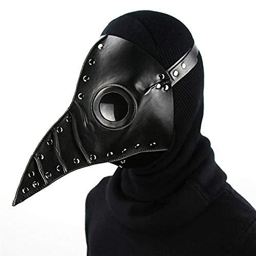 (GDSZ Steampunk Pest Arzt Maske PU Leder Vogel Schnabel Masken Halloween Cosplay Karneval Kostüm Requisiten,Black)