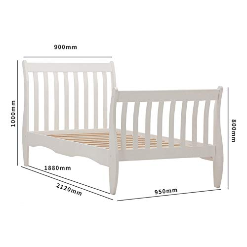 mecor Wooden Single Bed Frames 3ft for Kids Childrens bedroom Furniture White
