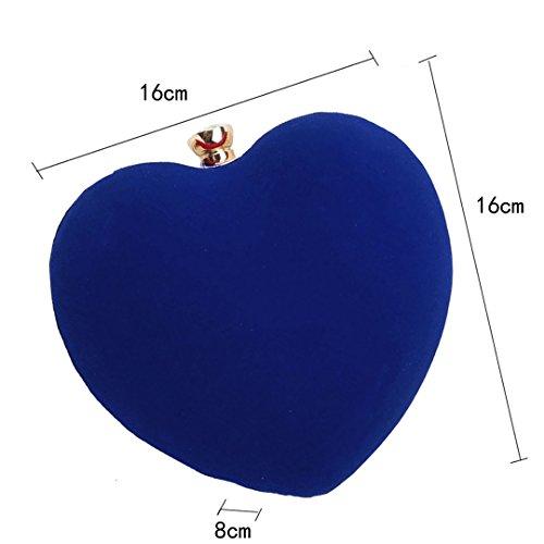 Milya Damen Mädchen Neues herzförmiges Design Mode Einfachen Samt Velour Stoffbeutel Clutch Handtasche Umhängetasche kleine Tasche Schwarz Blau