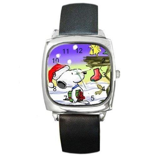 Weihnachten Snoopy und Woodstock in einen Baum auf einem Silber quadratische Armbanduhr mit Leder Band