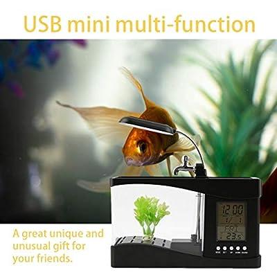 yaoyan Neue USB Desktop Mini Aquarium Aquarium LCD Timer Clock LED Lampe Licht schwarz Worldwide Store - schwarz