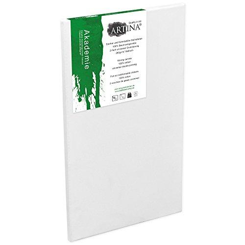 Artina Keilrahmen 50x100 cm Leinwand 100% Baumwolle auf stabilen Leisten in Akademie Qualität - weiß grundiert - 280 g/m²