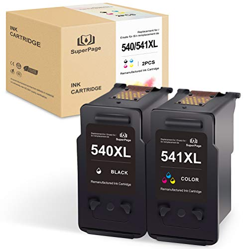 SuperPage 540XL Druckerpatronen Kompatible für Canon PG-540XL CL-541XL fürCanon Pixma MG4250 MG3550 MG2250 MX395 MG4150 MG3150 MG2150 MG3250 MX525 MX455 MX515 MX435(Schwarz,Farbe)