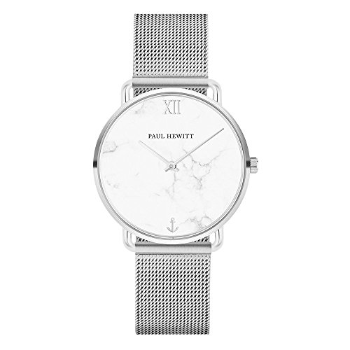 PAUL HEWITT Armbanduhr Damen Miss Ocean Marble - Damen Uhr (Silber), Damenuhr Edelstahlarmband in Silber, Ziffernblatt im Marmor-Style