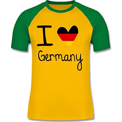 Shirtracer Fußball-WM 2018 - Russland - I Love Germany - Herren Baseball Shirt Gelb/Grün