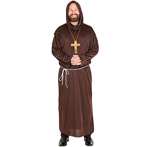 ige Mönchsrobe Mönchskutte Herren Mönch Kostüm mit separater Kapuze, Kreuzkette und Bindegürtel (L | Nr. 300037) (Mönch Kostüme)