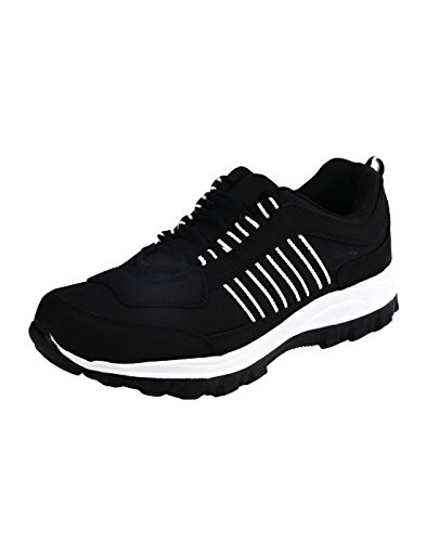 Corpus Men's Density Black Color Leather Running Shoes-10  available at amazon for Rs.449