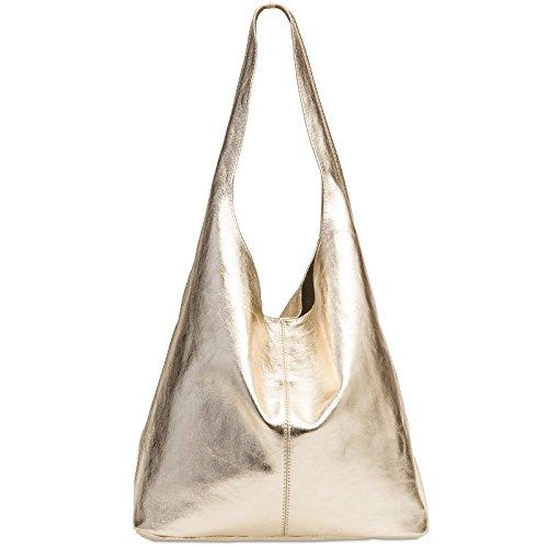CASPAR TL767 großer Damen Leder Shopper, Größe:One Size, Farbe:gold metallic (Gold Vintage Handtasche)