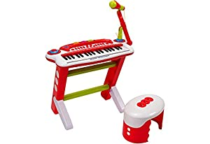 Globo Toys Globo-37317Factory Sonido 37-Keys Piano con micrófono y Taburete