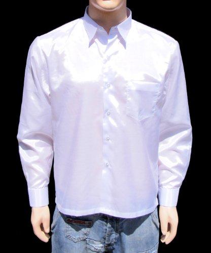 Blanc Chemise Hommes en soie thaïlandaise à Manche Longue / Taille XXXL