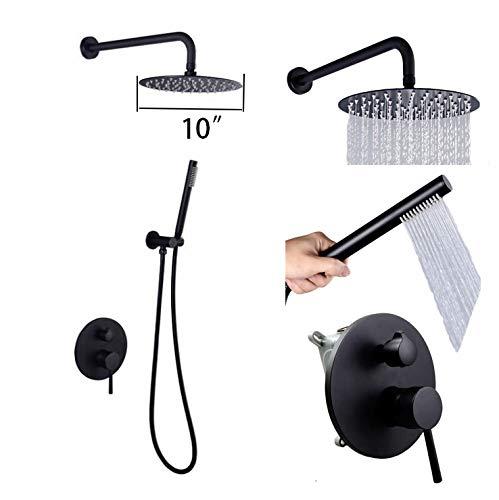 GYKFY Niederschlag Wand Bad Mischbatterie Set Hochdruck Duschsystem Handheld Regen Duschkopf Einhand Wasserhahn Mischventil,10''