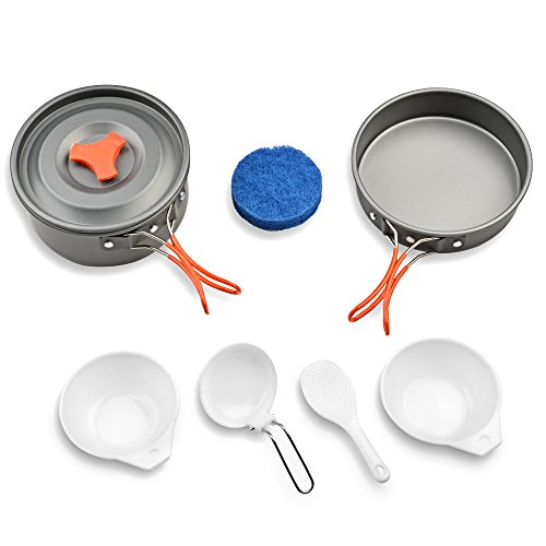 Camping Cookware Set Outdoor Backpacking Gear & Hiking Cooking Equipment 8pcs Small Pot Pan Kit Perfect for 1-2 Person