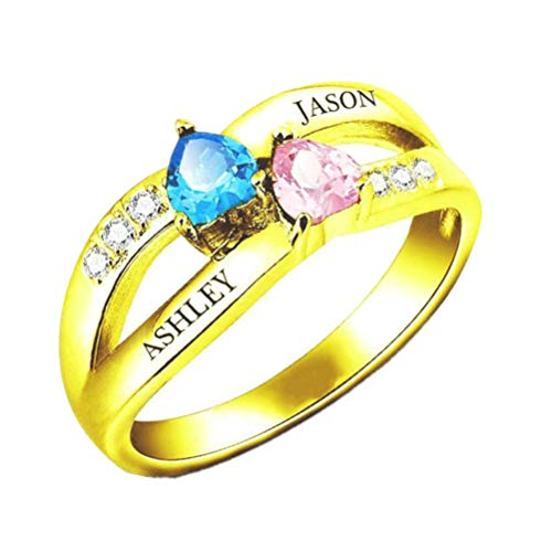 Yanday Personalisierte Sterling Silber RTing Custom Promise Ring 2 Birthstone mit Namen(Gold 44 (14.0))