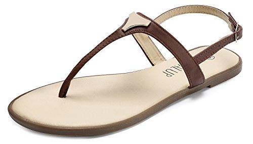 SANDALUP Damen Sandalen mit Dreieck Metall, Braun, 39 EU / UK 6 Damen Metall