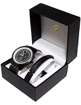 Set mit Herren-Armbanduhr und Panzerketten-Armband aus Stahl, Geschenkset für Herren