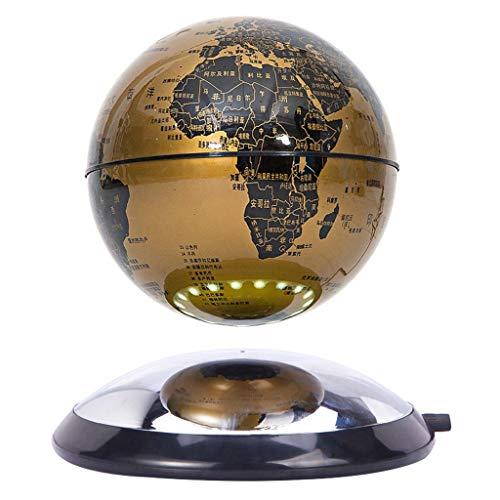 HUYYB Levitación magnética Flotante Globo con luz led, 6 Pulgadas Anti Gravity Globe 360 Rotación automática Decoración de Escritorio para Oficina,Gold