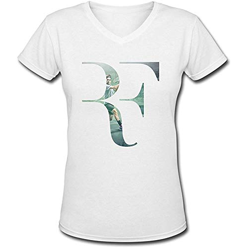 Christine Sample Jiaso Women's Tennis Superstar Roger Federer U.S. Open 2015 V-Neck Cotton T-Shirt S -