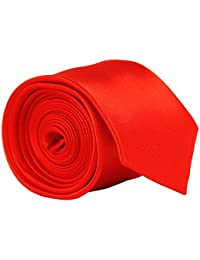 High Quality Plain Skinny Slim Satin Tie Hot Bright Red