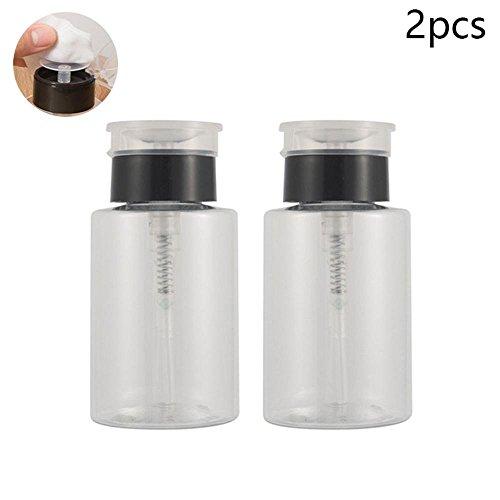 Lot de 2 flacons Pawaca rechargeables pour liquides - Récipients avec pompe - Bouteilles vides en plastiques de 160 ml - Flacons pour dissolvant, vernis, démaquillant et alcool