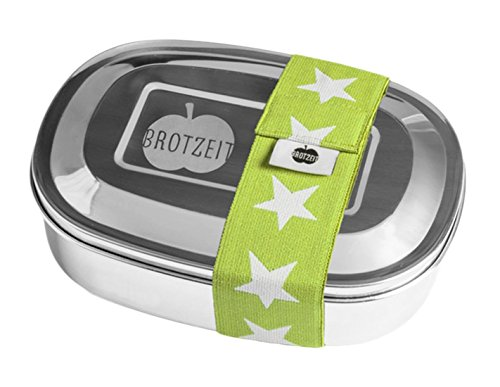 Brotzeit- Lunchbox Brotbüchse DUO Metall Edelstahl mit Sternen Band und Fächern, 16x11x4cm, Grün (Rucksack Mit Lunch Box)