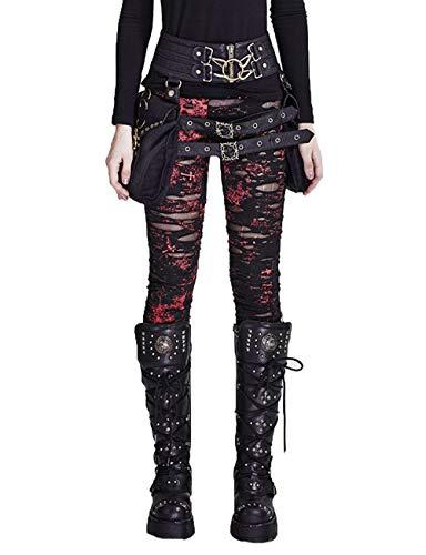 Steelsir Frauen Sexy Hohl gebrochene Maschen nähen Leggings Gothic Skinny Hose Punk Red Hosen, 5 Größe (XL)