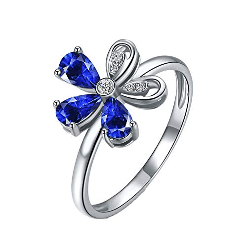 YCGEMS Die Saphir-Ring-Kollektion: Wunderschöner Verlobungsring aus 18 Karat Weißgold mit echtem blauen Saphir und Diamant als Verlobungsring für die Braut,P1/2