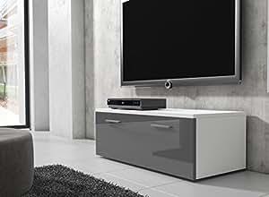 tv m bel lowboard schrank st nder boston korpus wei front grau hochglanz 100 cm. Black Bedroom Furniture Sets. Home Design Ideas