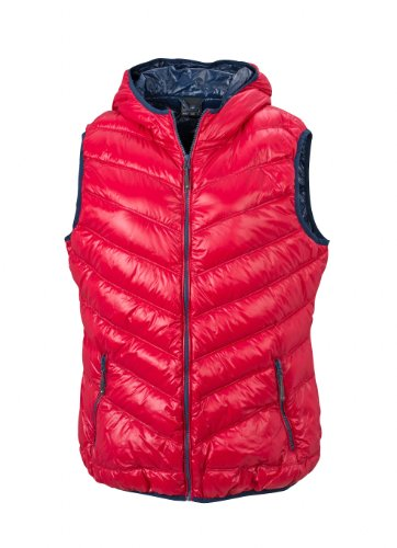 James & Nicholson Damen Jacke Daunenweste Ladies' Down Vest rot (red/navy) Medium (Jacke Bomber Leder Navy)