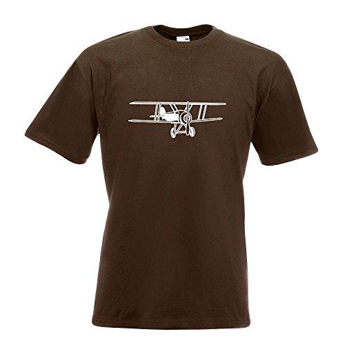 KIWISTAR - Doppeldecker Flugzeug T-Shirt in 15 verschiedenen Farben - Herren Funshirt bedruckt Design Sprüche Spruch Motive Oberteil Baumwolle Print Größe S M L XL XXL Chocolate
