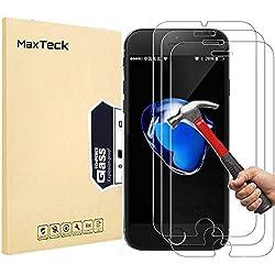 [3 Pièces] Verre Trempé iphone 8 Plus / 7 Plus, MaxTeck Film Protection en Verre trempé écran Protecteur Vitre pour iphone 8 Plus / 7 Plus - Compatible 3D Touch