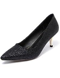 AgooLar Damen Eingelegt Mattglasbirne Mittler Absatz Spitz Zehe Pumps Schuhe, Rot, 43