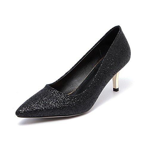Arrasto Sapatos Senhoras Calcanhar Sequin Pretos Sobre Meados Apontou Bombas Allhqfashion Toe Puramente RxqxB4S