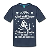 Spreadshirt Glück Nicht Kaufen aber Eishockey Spielen Teenager Premium T-Shirt, 146/152 (10 Jahre), Navy