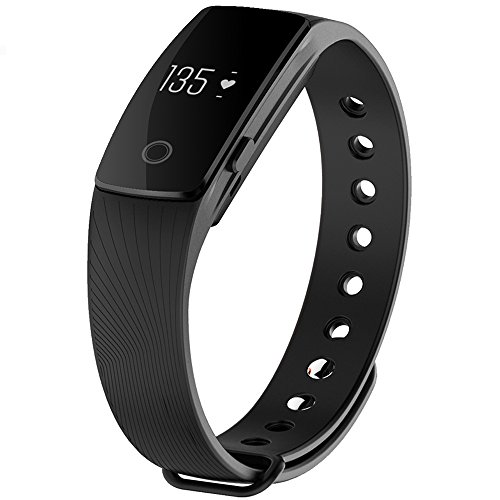 Tracker d'Activité, GanRiver® Montre Podometre Bracelet Poignet Ceinture Bluetooth Smart Bracelet Connecte Fitness Tracker Watch pour Android iOS Samsung iPhone Sony Smartphones, pour Marche Course à Pied Sport Homme Femme ( Compteur de pas, Moniteur de distance, Brûlure des Calories, Moniteur de sommeil, Rappel sédentaire, Notification Appels & SMS, Notifications d'APP: Whatsapp / Facebook / Twitter / Skype ..., Réveil, Capture Caméra à distance.)