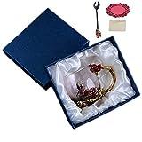 TEAHOM Kristall Glas Kaffeetasse Teetasse Handarbeit Transparent Verdicken Hitzebeständig Stieg Blume Wasser Tasse Set Weiblichen Hause Kreative Geschenk (Geschenkbox, pink)