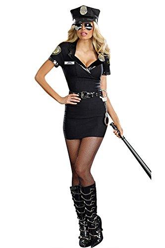 Schwarz Bodycon Polizei Kostüme Minikleid