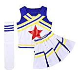 CHICTRY Mädchen Cheerleaderin Cheerleading Kostüm Uniform Ärmellos Tank Tops mit Minirock Socken Karneval Fasching Party Halloween Tanz Kostüm Blau 128-140/8-10 Jahre