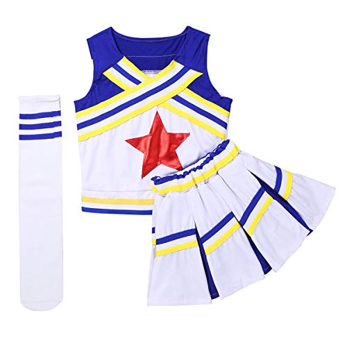 CHICTRY Mädchen Cheerleaderin Cheerleading Kostüm Uniform Ärmellos Tank Tops mit Minirock Socken Karneval Fasching Party Halloween Tanz Kostüm Blau 128-140/8-10 Jahre (Top 10 Halloween-kostüme)