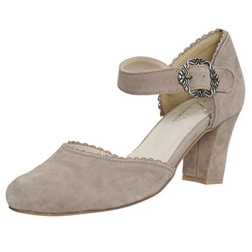 HIRSCHKOGEL Damen Dirndl-Schuhe Pumps Überlinger See in Beige Trachten-Schuhe, Schuhgröße:37, Farbe:Beige