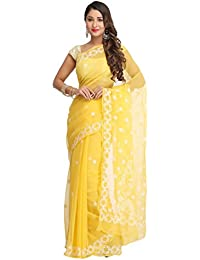 ADA Hand Embroidered Lucknow Chikankari Ethnic Wear Saree for Women in Georgette A129556 YELLOW