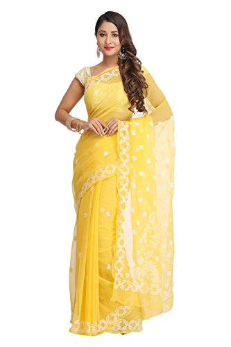 Ada Women's Faux Georgette Saree With Blouse Piece (A129556,Yellow,Free Size)