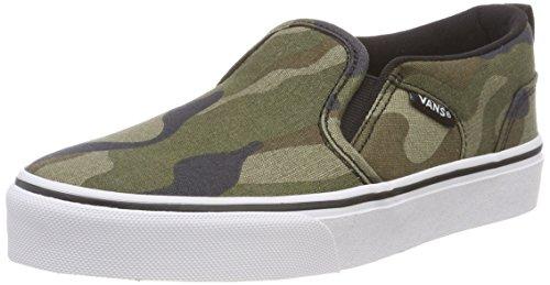 Vans Kinder Asher Unisex Slip On Sneaker, Mehrfarbig ((Camo) Multi/White U0j), 30 EU